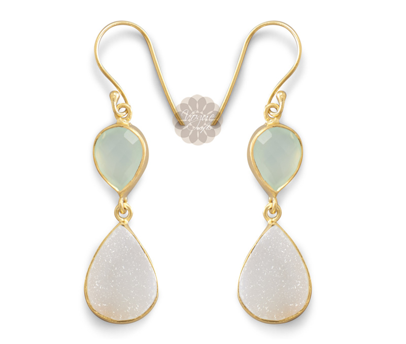 Vogue Crafts & Designs Pvt. Ltd. manufactures Druzy Drop Gold Earrings at wholesale price.
