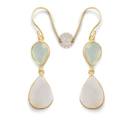 Vogue Crafts and Designs Pvt. Ltd. manufactures Druzy Drop Gold Earrings at wholesale price.