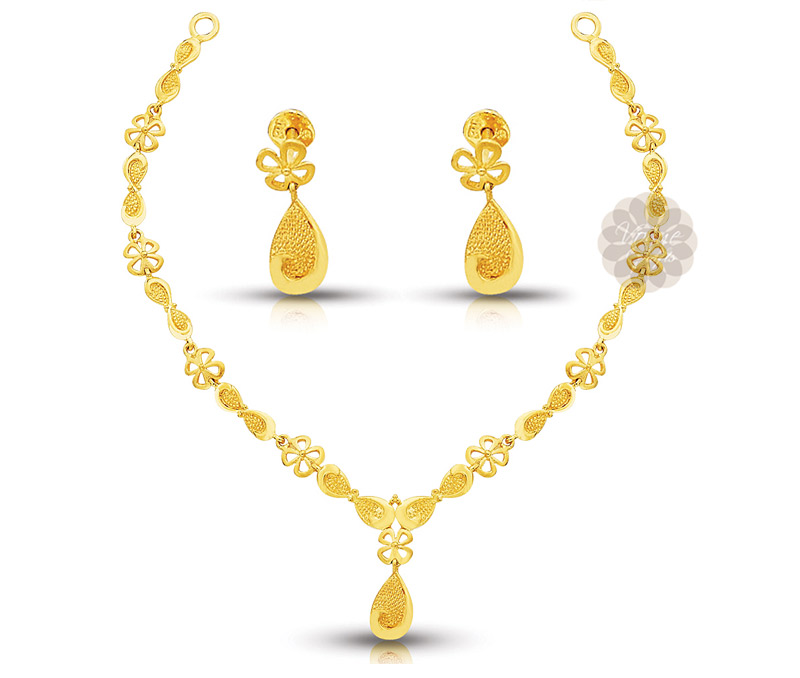Vogue Crafts & Designs Pvt. Ltd. manufactures Stylish Floral Gold Necklace with Earrings at wholesale price.
