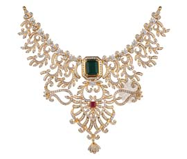 Vogue Crafts and Designs Pvt. Ltd. manufactures Traditional Diamond Necklace at wholesale price.