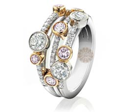 Layered Diamond and Gold Ring