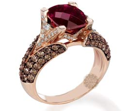 Vogue Crafts and Designs Pvt. Ltd. manufactures Rose Gold Ruby Ring at wholesale price.