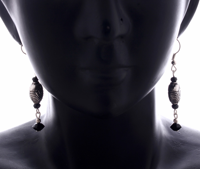 Vogue Crafts & Designs Pvt. Ltd. manufactures Black and Silver Drop Earrings at wholesale price.