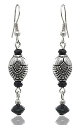 Black and Silver Drop Earrings