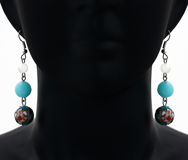 Latest Design Jewelry - Floral Blue Earrings .