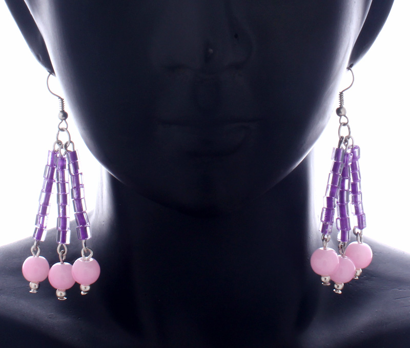 Latest Design Jewelry - Purple and Pink Earrings .