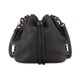 Vogue Crafts and Designs Pvt. Ltd. manufactures Black Drawstring Leather Bag at wholesale price.