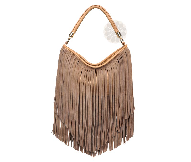 Latest Design Jewelry - Brown Fringe Leather Handbag .