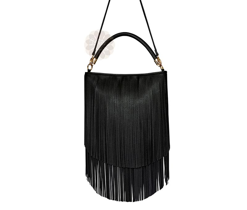 Vogue Crafts & Designs Pvt. Ltd. manufactures Black Fringe Sling Bag at wholesale price.