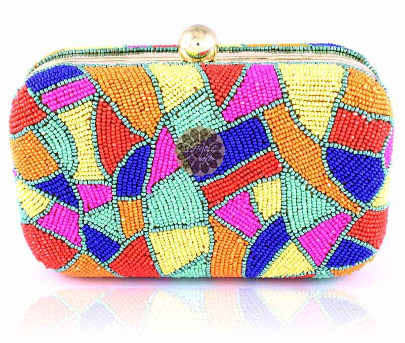 Vogue Crafts & Designs Pvt. Ltd. manufactures Multicolor Magnetic Closure Clutch at wholesale price.