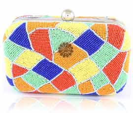 Vogue Crafts and Designs Pvt. Ltd. manufactures Multicolor Beaded Clutch at wholesale price.