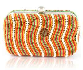 Vogue Crafts and Designs Pvt. Ltd. manufactures Magnetic Closure Beaded Clutch at wholesale price.