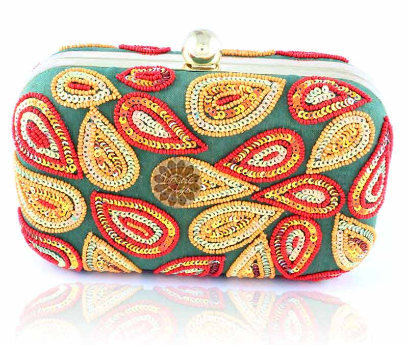 Vogue Crafts & Designs Pvt. Ltd. manufactures Multicolor Embroidered Clutch at wholesale price.