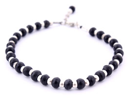 Black and Silver Beads Anklet