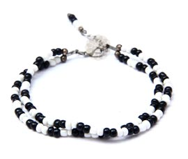 Black and White Bead Anklet