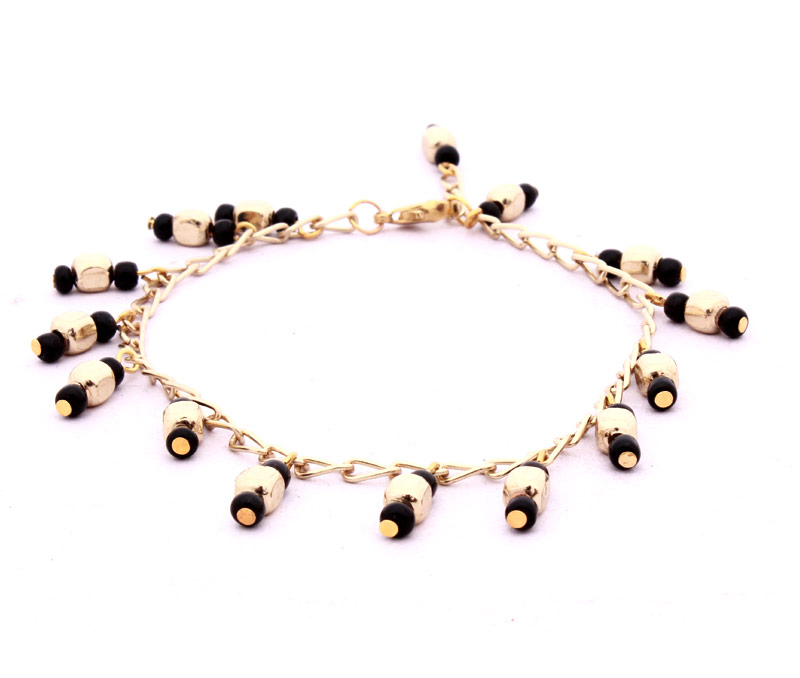 Latest Design Jewelry - Golden and Black Bead Anklet .