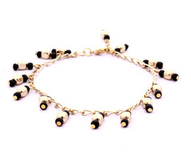 Golden and Black Bead Anklet