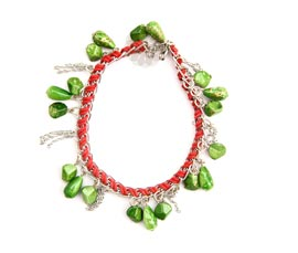 Vogue Crafts and Designs Pvt. Ltd. manufactures Textured Green Bead Anklet at wholesale price.