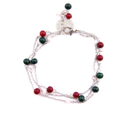 Vogue Crafts and Designs Pvt. Ltd. manufactures Green and Red Bead Anklet at wholesale price.