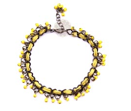 Vogue Crafts and Designs Pvt. Ltd. manufactures Yellow Bead Anklet at wholesale price.