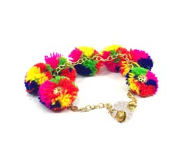 Vogue Crafts and Designs Pvt. Ltd. manufactures Fancy Multicolor Pom Pom Anklet at wholesale price.