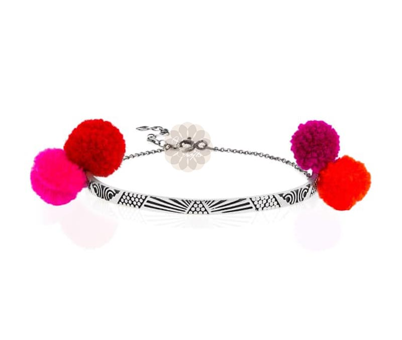 Vogue Crafts & Designs Pvt. Ltd. manufactures Red and Pink Pom Pom Ankle at wholesale price.