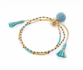 Vogue Crafts and Designs Pvt. Ltd. manufactures Light Blue Tassel Anklet at wholesale price.