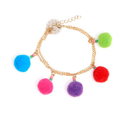 Vogue Crafts and Designs Pvt. Ltd. manufactures Pom Pom and Beads Anklet at wholesale price.