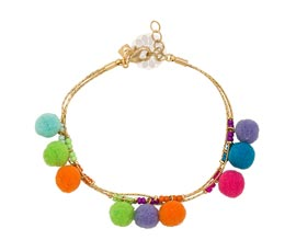 Vogue Crafts and Designs Pvt. Ltd. manufactures Multi-strand Pom Pom Anklet at wholesale price.