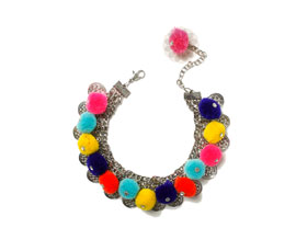 Vogue Crafts and Designs Pvt. Ltd. manufactures Multicolor Pom Pom Anklet at wholesale price.