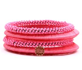 Vogue Crafts and Designs Pvt. Ltd. manufactures Beaded Pink Bangle Stack at wholesale price.