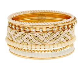 Vogue Crafts and Designs Pvt. Ltd. manufactures White Ethnic Bangle Stack at wholesale price.
