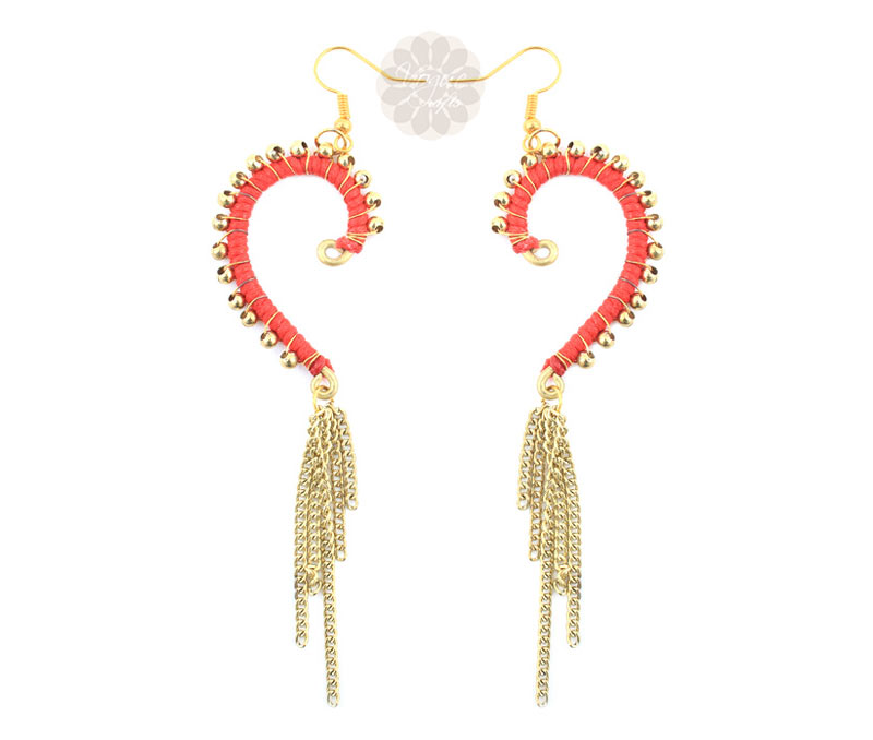 Vogue Crafts & Designs Pvt. Ltd. manufactures Golden Ball Heart Earrings at wholesale price.