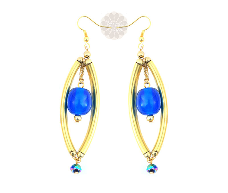 Latest Design Jewelry - Long Blue Bead Earrings .