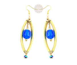 Vogue Crafts and Designs Pvt. Ltd. manufactures Long Blue Bead Earrings at wholesale price.