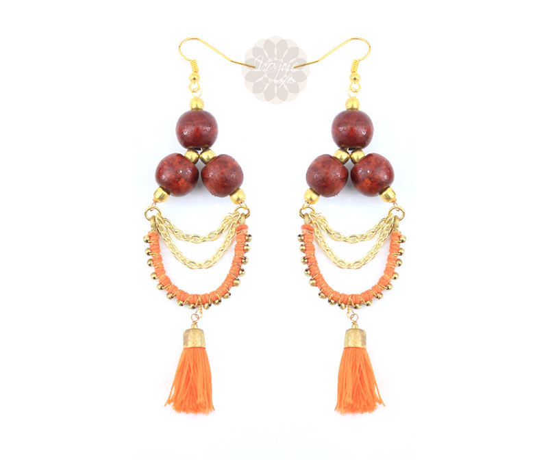 Vogue Crafts & Designs Pvt. Ltd. manufactures Wooden Bead Earrings at wholesale price.