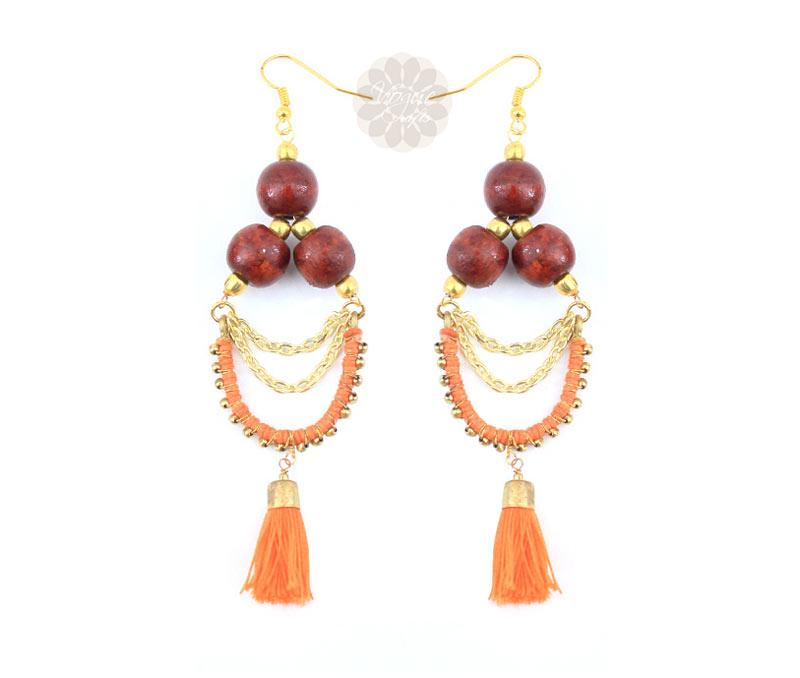 Latest Design Jewelry - Wooden Bead Earrings .