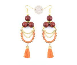 Vogue Crafts and Designs Pvt. Ltd. manufactures Wooden Bead Earrings at wholesale price.