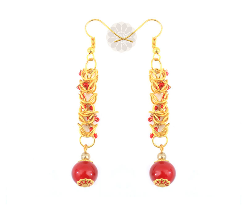 Latest Design Jewelry - Long Red Bead Earrings .
