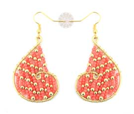 Vogue Crafts and Designs Pvt. Ltd. manufactures Red Heart Earrings at wholesale price.