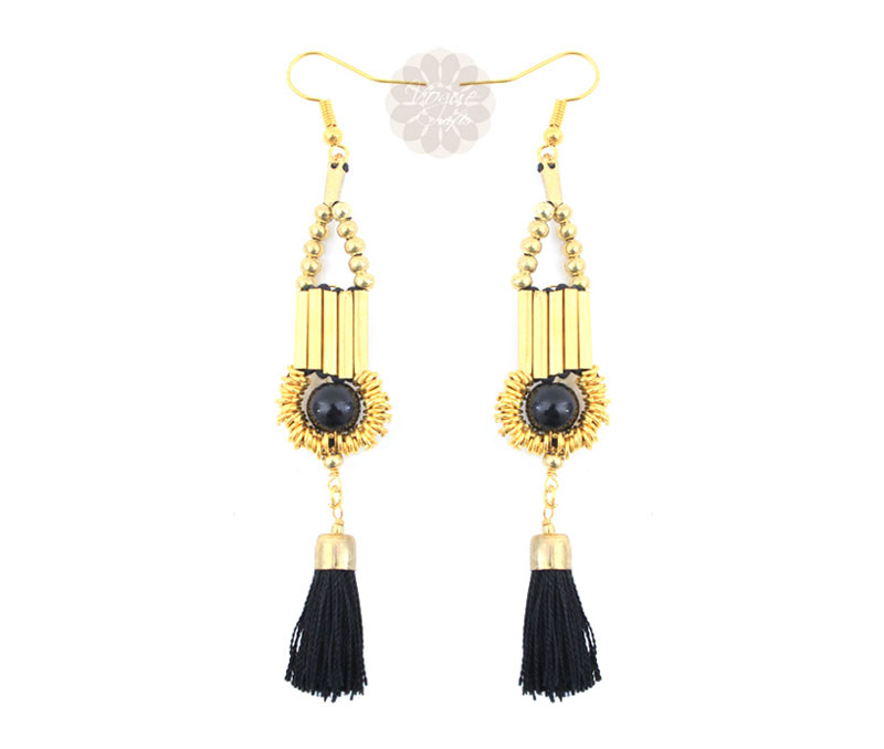 Vogue Crafts & Designs Pvt. Ltd. manufactures Black Tassel Drop Earrings at wholesale price.