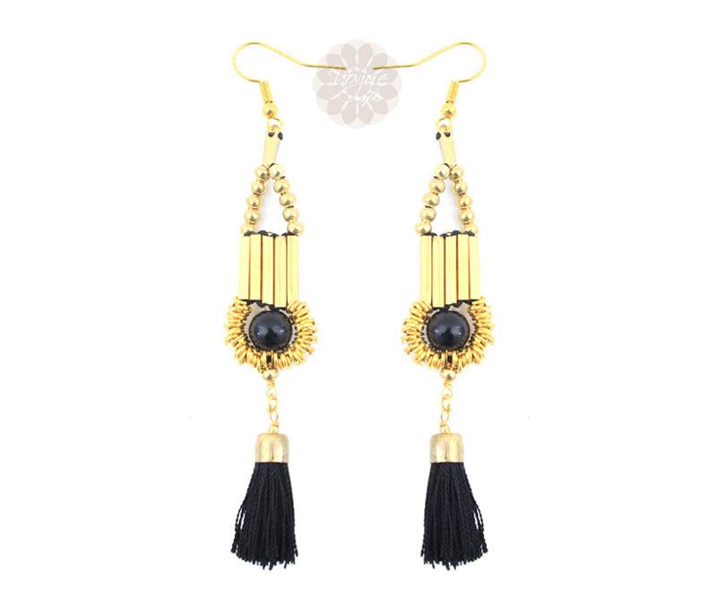 Latest Design Jewelry - Black Tassel Drop Earrings .