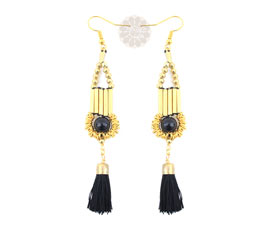 Vogue Crafts and Designs Pvt. Ltd. manufactures Black Tassel Drop Earrings at wholesale price.