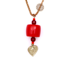 Vogue Crafts and Designs Pvt. Ltd. manufactures Square Red bead Pendant at wholesale price.