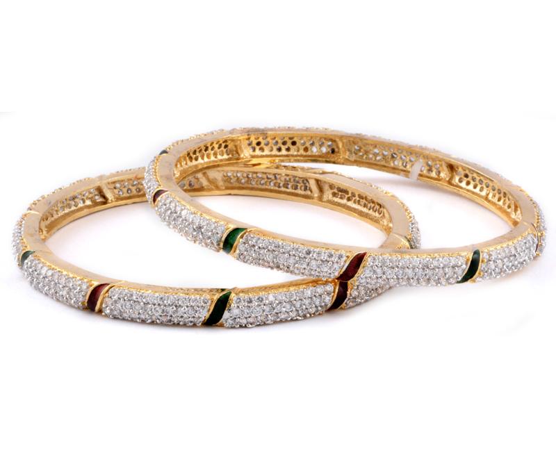 Latest Design Jewelry - Gloden Brass Bangles With Meenakari .