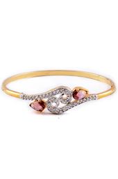Golden Bracelet with Pink Trumulin stones