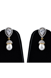 Pearl Drop American Diamond Earrings