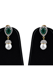 Brass American Diamond Earrings with Emerald