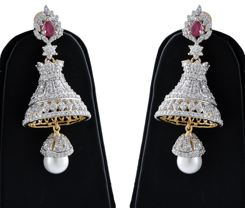Vogue Crafts & Designs Pvt. Ltd. manufactures Dangler Brass earrings with Pearl and Rubi at wholesale price.
