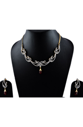 American Diamonds with Maroon Stone Earrings-Necklace set
